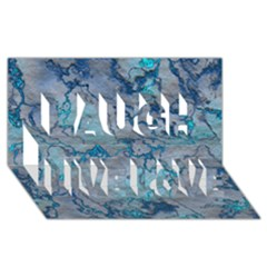 Marbled Lava Blue Laugh Live Love 3D Greeting Card (8x4)