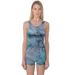 Marbled Lava Blue Women s Boyleg One Piece Swimsuits
