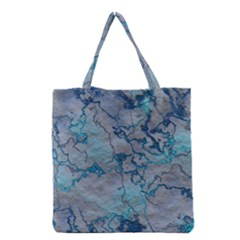 Marbled Lava Blue Grocery Tote Bags