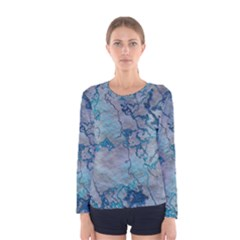 Marbled Lava Blue Women s Long Sleeve T Shirts