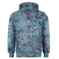 Marbled Lava Blue Men s Pullover Hoodies