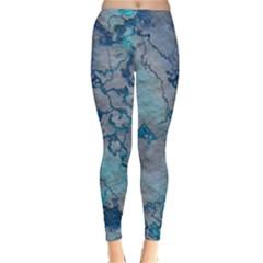 Marbled Lava Blue Winter Leggings