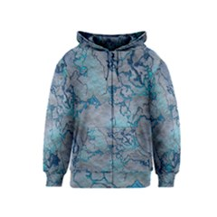 Marbled Lava Blue Kids Zipper Hoodies
