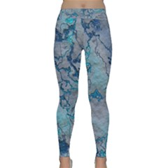 Marbled Lava Blue Yoga Leggings