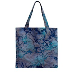 Marbled Lava Blue Zipper Grocery Tote Bags