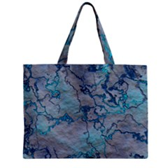 Marbled Lava Blue Zipper Tiny Tote Bags