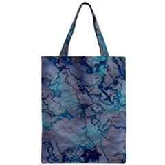 Marbled Lava Blue Zipper Classic Tote Bags