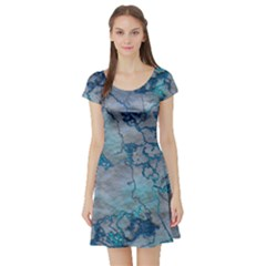 Marbled Lava Blue Short Sleeve Skater Dresses