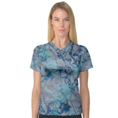Marbled Lava Blue Women s V-Neck Sport Mesh Tee