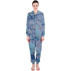 Marbled Lava Blue Hooded Jumpsuit (Ladies)