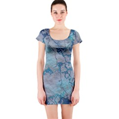 Marbled Lava Blue Short Sleeve Bodycon Dresses