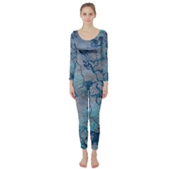 Marbled Lava Blue Long Sleeve Catsuit