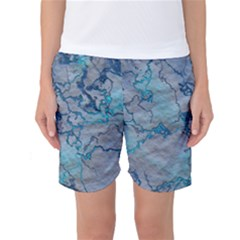 Marbled Lava Blue Women s Basketball Shorts