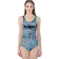Marbled Lava Blue Women s One Piece Swimsuits