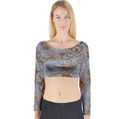 Marbled Lava Orange Long Sleeve Crop Top