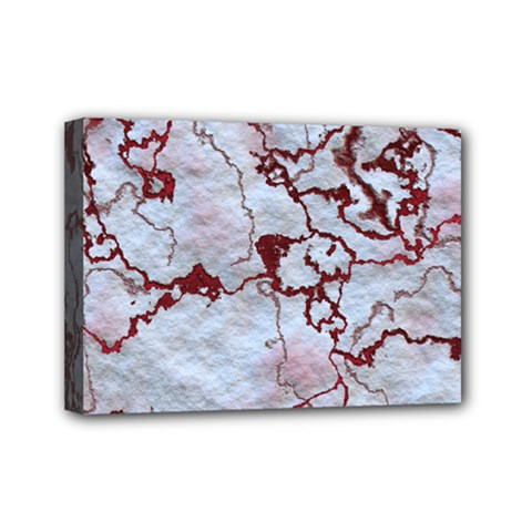 Marbled Lava Red Mini Canvas 7  X 5