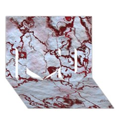 Marbled Lava Red I Love You 3d Greeting Card (7x5)