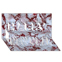 Marbled Lava Red Happy New Year 3D Greeting Card (8x4)