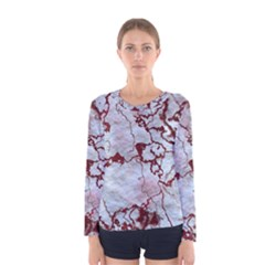 Marbled Lava Red Women s Long Sleeve T Shirts