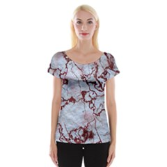 Marbled Lava Red Women s Cap Sleeve Top