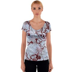 Marbled Lava Red Women s V-Neck Cap Sleeve Top