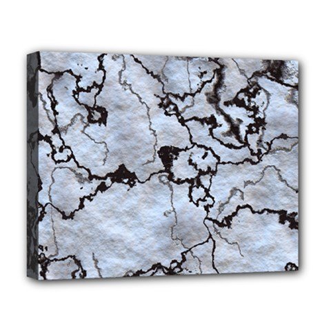 Marbled Lava White Black Deluxe Canvas 20  x 16