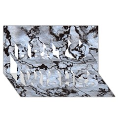 Marbled Lava White Black Best Wish 3D Greeting Card (8x4)