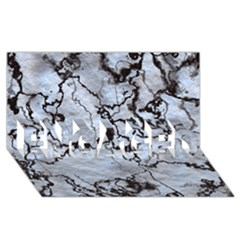 Marbled Lava White Black ENGAGED 3D Greeting Card (8x4)