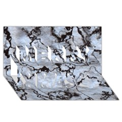 Marbled Lava White Black Merry Xmas 3d Greeting Card (8x4)
