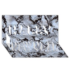 Marbled Lava White Black Happy New Year 3d Greeting Card (8x4)