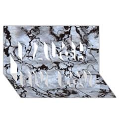 Marbled Lava White Black Laugh Live Love 3D Greeting Card (8x4)
