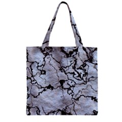 Marbled Lava White Black Zipper Grocery Tote Bags