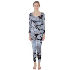 Marbled Lava White Black Long Sleeve Catsuit