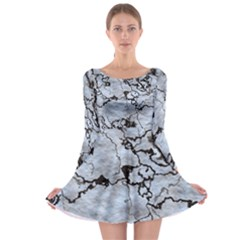 Marbled Lava White Black Long Sleeve Skater Dress