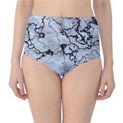 Marbled Lava White Black High-Waist Bikini Bottoms