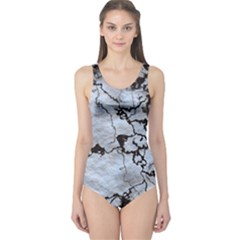 Marbled Lava White Black Women s One Piece Swimsuits