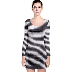 Zebra Print Abstract  Long Sleeve Bodycon Dresses