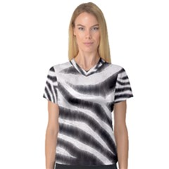 Zebra Print Abstract  Women s V Neck Sport Mesh Tee