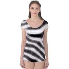 Zebra Print Abstract  Short Sleeve Leotard