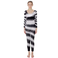 Zebra Print Abstract  Long Sleeve Catsuit