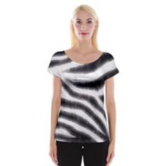 Zebra Print Abstract  Women s Cap Sleeve Top