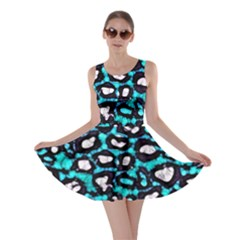 Turquoise Black Cheetah Abstract  Skater Dresses