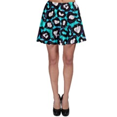 Turquoise Black Cheetah Abstract  Skater Skirts