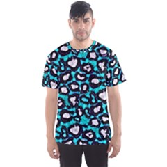 Turquoise Black Cheetah Abstract  Men s Sport Mesh Tees