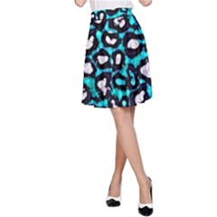 Turquoise Black Cheetah Abstract  A-Line Skirts