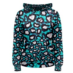 Turquoise Black Cheetah Abstract  Women s Pullover Hoodies