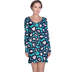 Turquoise Black Cheetah Abstract  Long Sleeve Nightdresses