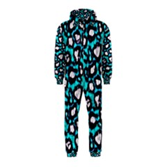 Turquoise Black Cheetah Abstract  Hooded Jumpsuit (Kids)