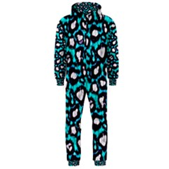 Turquoise Black Cheetah Abstract  Hooded Jumpsuit (Men)