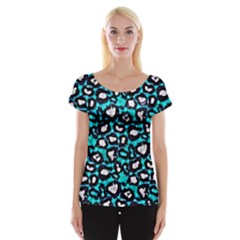 Turquoise Black Cheetah Abstract  Women s Cap Sleeve Top